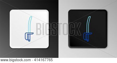 Line Pirate Sword Icon Isolated On Grey Background. Sabre Sign. Colorful Outline Concept. Vector