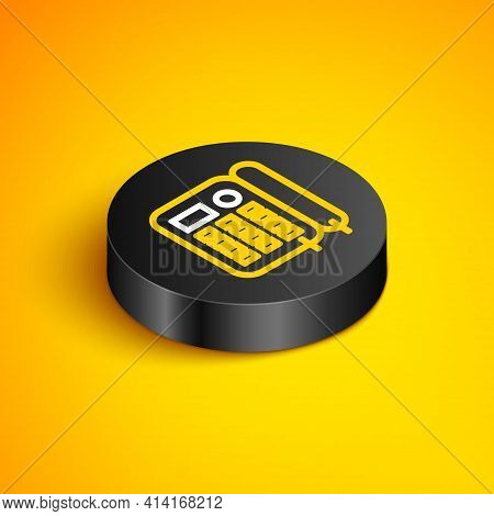Isometric Line Telephone Icon Isolated On Yellow Background. Landline Phone. Black Circle Button. Ve