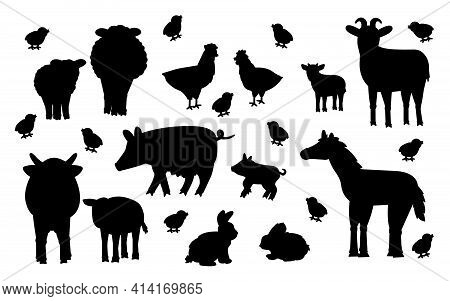 Set of cute vector silhouette cartoon animals at the farm. Sheep, ram, cow, bull, calf, chicken, rooster, goat mother and kid, pig small and big, rabbit, hare, horse isolated on white background