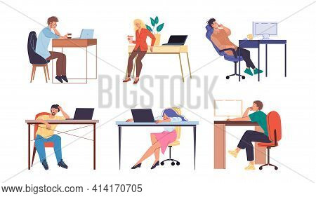 Cartoon Flat Characters Hardworking Office Workers Busy Employees, Stressed And Tired At Office Inte