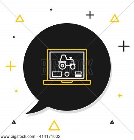 Line Laptop Application For Control A Autonomous Tractor On A Smart Farm Icon Isolated On White Back