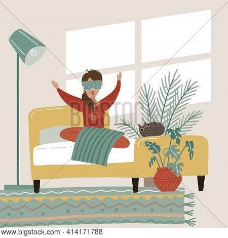 Woman Awake Morning In Comfortable Bed. Young Girl Awake From Healthy Sleep Yawn And Feel Satisfied