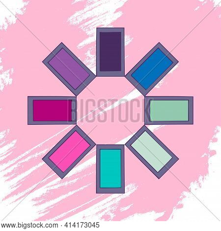 Eye Shadow On An Artistic Colored Background. Makeup Collection. Vector.