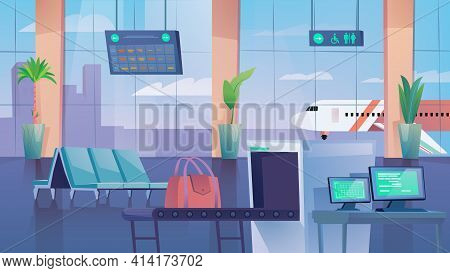 Hall Of Airport Landing Page In Flat Cartoon Style. Waiting Hall Interior With Chairs, Baggage Scann