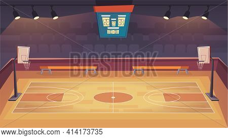 Basketball Court Landing Page In Flat Cartoon Style. Modern Indoor Stadium With Wooden Floor, Scoreb