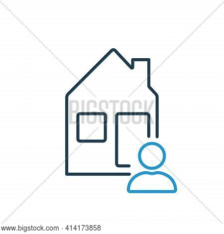 Tenant Or Landlord With House Outline Icon. Homeowner Of Real Estate. Tenant, Landlord, Homeowner Li