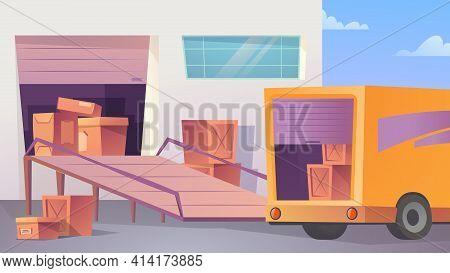 Warehouse Landing Page In Flat Cartoon Style. Unloading Or Loading Truck With Parcels. Post Mail Or