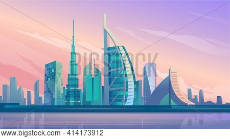 Dubai City Skyscrapers Landing Page In Flat Cartoon Style. Uae City Panorama, Urban Landscape With M