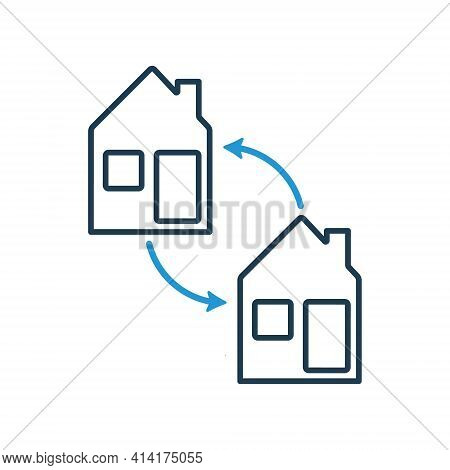 House Exchange Line Icon. Barter Of Real Estate Property. Transaction Concept. Swap And House Line I