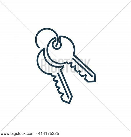 Two House Key Line Icon On White Background. Security Lock And Unlock For Door Car And House. Thin L