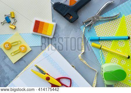 Scrapbooking - Handmade Art, Design Of A Handmade Photo Album. Paper, Office Supplies, Top View. Fla
