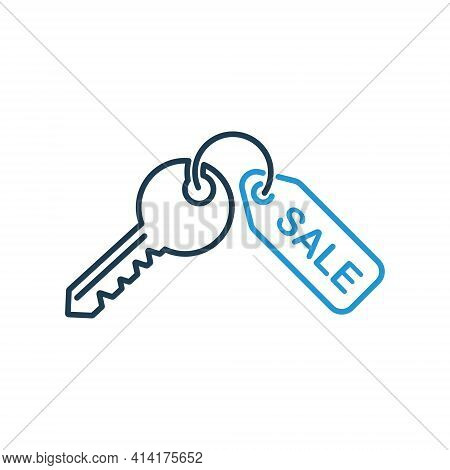 House Key Line Icon On White Background. Sale Real Estate Concept. Thin Line Of Home Key Icon. Vecto