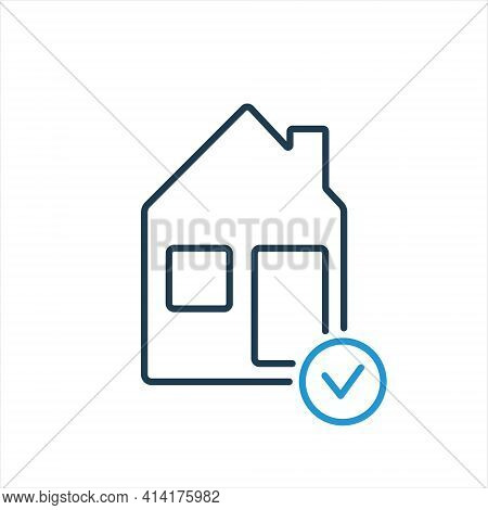 House Line Icon With Check Mark. Real Estate Agency. Inspection Real Estate Line Icon. Vector