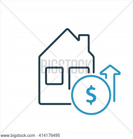 Increases Of Cost Real Estate. House And Dollar Coin Line Icon. Growth Of Price In Real Estate. Arro