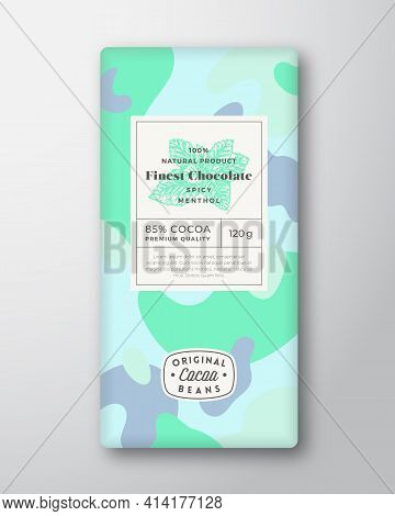 Menthol Chocolate Label Abstract Shapes Vector Packaging Design Layout With Realistic Shadows. Moder