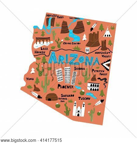 Arizona Flat Hand Drawn Vector Illustration. American State Map Isolated On Terracotta Background.
