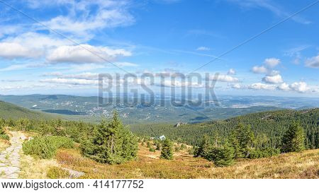 Panoramic View Of Slope Of Labski Szczyt Mountain With Shelter Building In Polish Giant Mountains