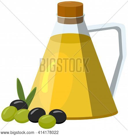 Olive Oil Bottle And Olives. Vector Illustration In Cartoon Style. For Mediterranean, Italian And Gr