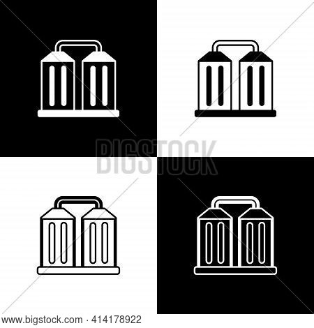 Set Granary Icon Isolated On Black And White Background. Silo With Grain, Elevator, Granary, Factory