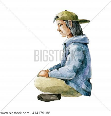 Young Man In Cap Sitting Side View. Watercolor Illustration. Side View Relaxed Single Person. Isolat