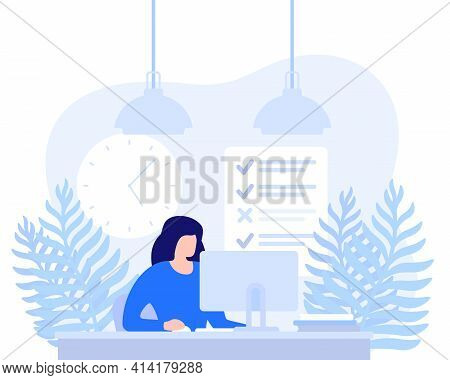 Woman Working At Computer, Task Completion Vector