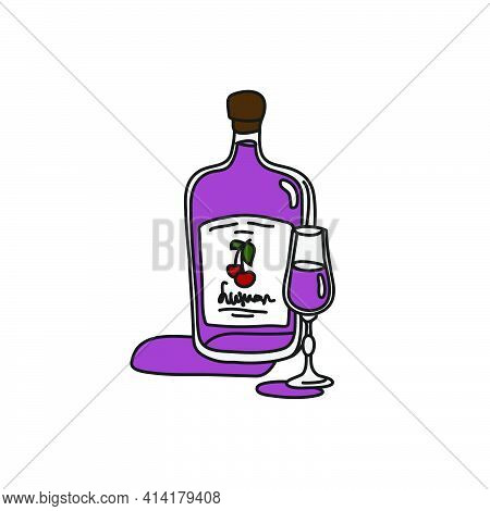 Liquor Bottle And Glass Superimposed Outline Icon On White Background. Colored Cartoon Sketch Graphi