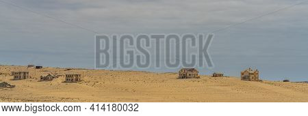 Kolmanskop. Namibia  - January 8.2021: German Kolmanskop Ghost Town In Namibia With The Abandoned Bu
