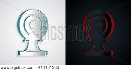 Paper Cut Target With Arrow Icon Isolated On Grey And Black Background. Dart Board Sign. Archery Boa