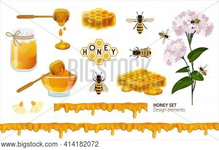 Honey Set. Design Elements With Bees, Honeycomb, Wooden Spoon, Logo, Jar With Liquid Honey And Seaml