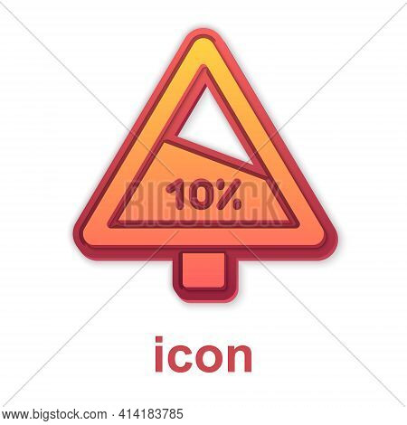 Gold Steep Ascent And Steep Descent Warning Road Icon Isolated On White Background. Traffic Rules An