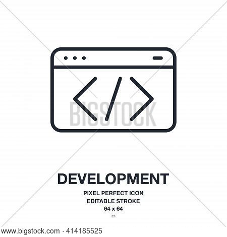 Programming And Software Development Concept Editable Stroke Outline Icon Isolated On White Backgrou