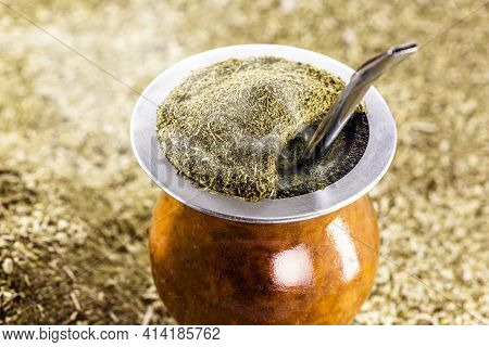 Hot Chimarrão, With A Background Of Yerba Mate, A Typical Brazilian Drink