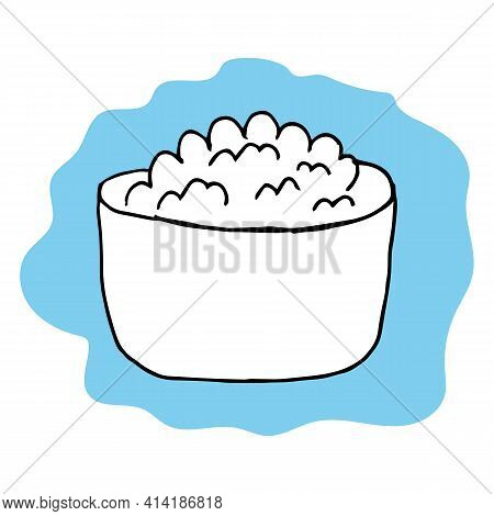 Cottage Cheese In Bowl Isolated On White. Tasty Breakfast. Simple Vector Illustration In Cartoon Doo