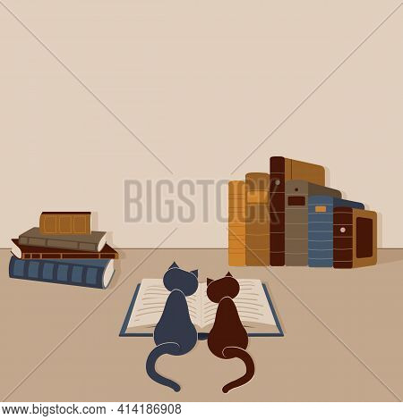 Concept:book Or Reading Is Source Of Knowledge.two Cats Sit Over Open Book And Studying It. A Lot Of