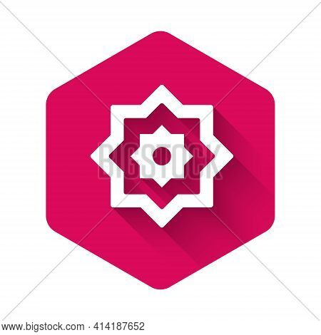 White Islamic Octagonal Star Ornament Icon Isolated With Long Shadow Background. Pink Hexagon Button