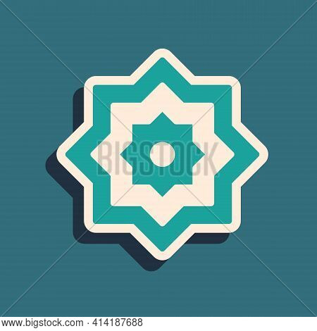 Green Islamic Octagonal Star Ornament Icon Isolated On Green Background. Long Shadow Style. Vector