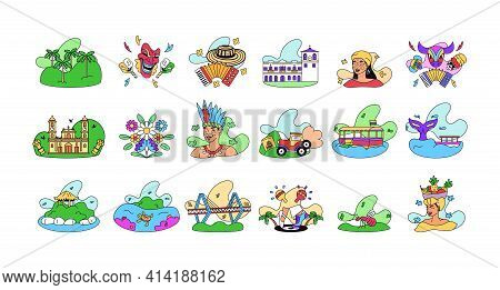 Set Of Colombian Tourist Attractions - Vector Illustration