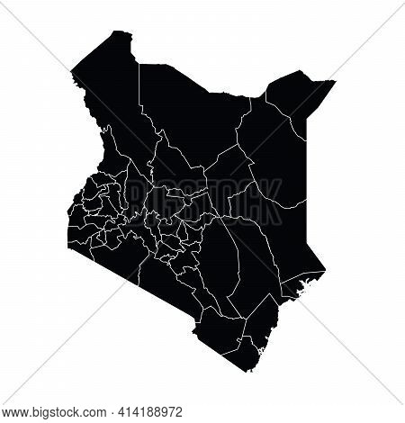 Kenya Country Map Vector With Regional Areas