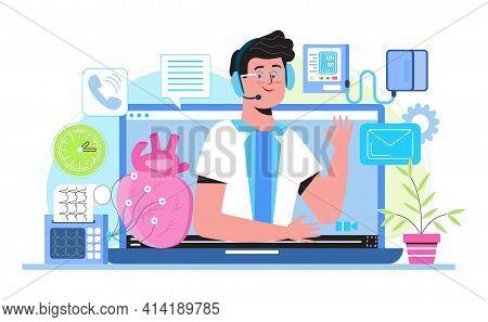Cardiologist Online Consultation. Cardiomyopathy Concept Vector For Medical Website, Blog. Heart Att