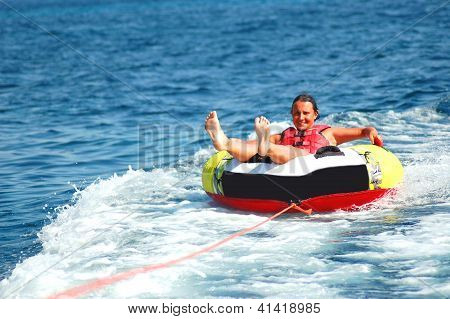 young girl on a tube