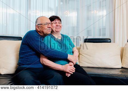 Senior Couple Old Woman And Senior Man. Loving Old Senior Family Couple Bonding Embracing. Romantic