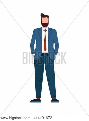 Businessman In Suit. Caucasian Male Standing. Tall Young Manager. Handsome Full Growth Guy.