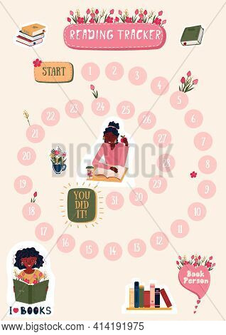 Habits Tracker For Reading Book On Month With Stickers. Daily Planner For Read Books. Schedule For S