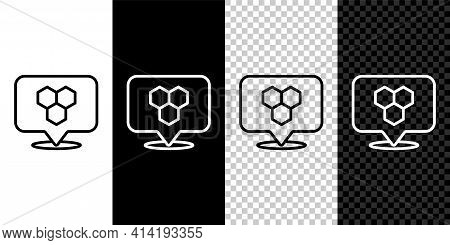 Set Line Honeycomb Bee Location Map Pin Pointer Icon Isolated On Black And White, Transparent Backgr