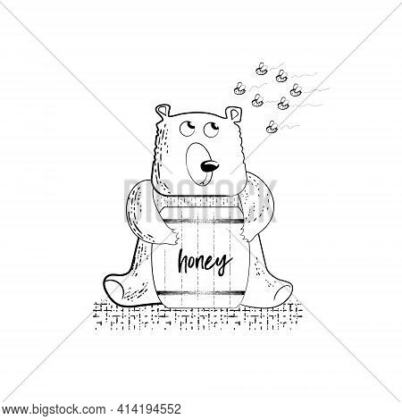 Funny Cartoon Bear With A Barrel Of Honey In Its Paws. A Swarm Of Angry Bees Is Flying Towards The B