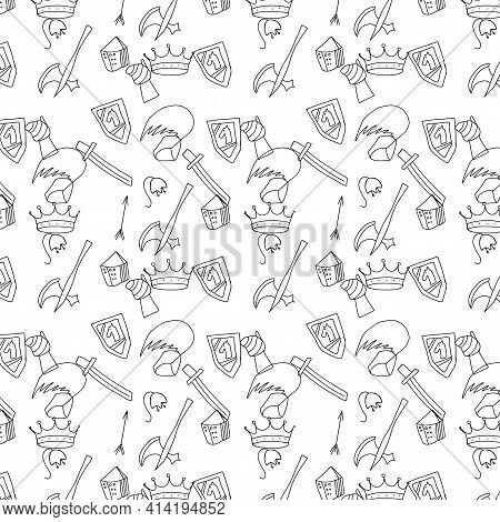 Mediaeval Knight Weapon Clothing And Tools, Doodle Sketch Pattern