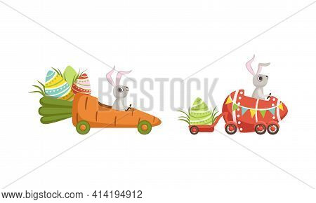 Cute Hare With Long Ears Driving Fancy Vehicle Carrying Olored Easter Eggs Vector Set