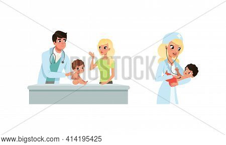 Man And Woman Pediatrician Or Medical Doctor Performing Baby Checkup And Examination Vector Set