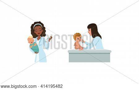 Woman Pediatrician Or Medical Doctor Performing Baby Checkup And Examination Vector Set
