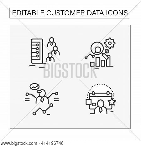 Customer Data Platform Line Icons Set. Client Database, Measurement Analytics, Predictions, Events.